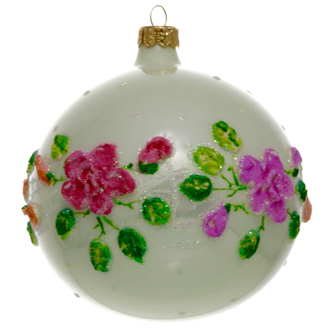 White with Colored Roses Christmas Ornament - Gifts by Kasia - 1