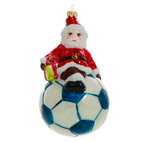 Santa Sitting on Soccer Ball Christmas Ornament - Gifts by Kasia - 1