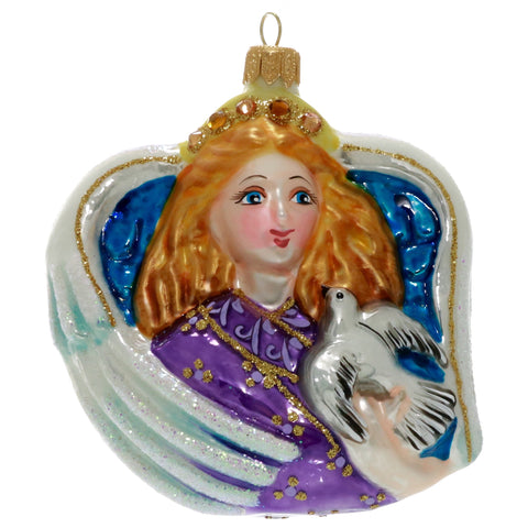 Purple Angel with Dove Christmas Ornament - Gifts by Kasia - 1