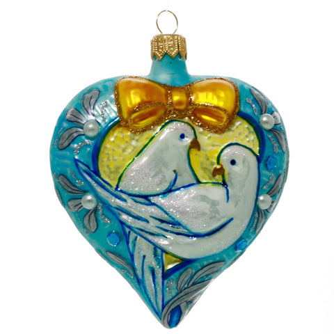 Lovey Dovey Blue Heart Christmas Ornament - Gifts by Kasia - 1