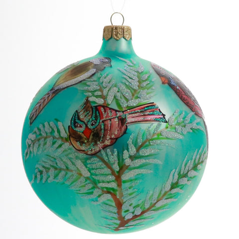 Cardinals on Snowy Branch Globe Christmas Ornament - Gifts by Kasia - 1