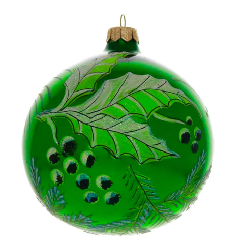 Green Holly Globe Christmas Ornament - Gifts by Kasia - 1