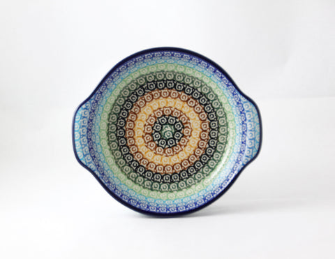 Handmade Ceramic Baking Dish with Blue Rainbow - Gifts by Kasia - 1