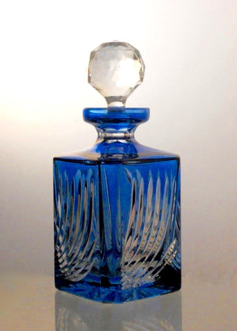 Flame Cut Aqua Blue Crystal Whiskey Decanter - Gifts by Kasia