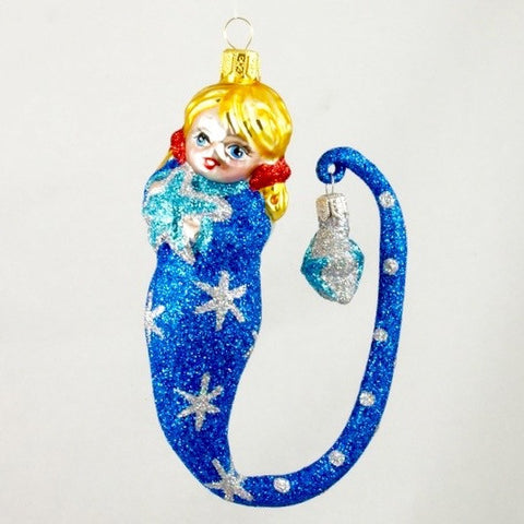 Girl with Stars in Blue Christmas Ornament - www.giftsbykasia.com - 1