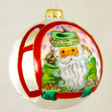 Green Santa in Window Christmas Ornament - www.giftsbykasia.com - 2