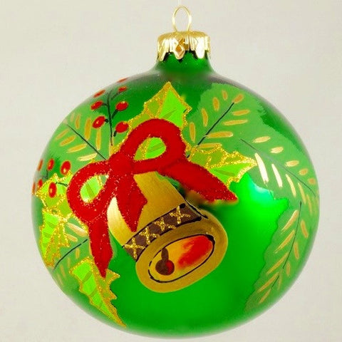 Globe with Bell and Holly and Red Ribbon on Green Christmas Ornament - www.giftsbykasia.com - 1