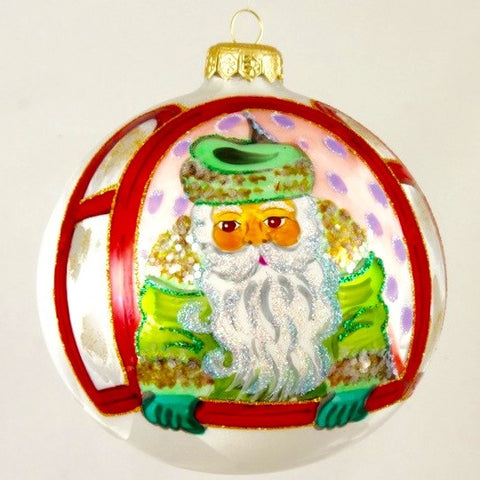 Green Santa in Window Christmas Ornament - www.giftsbykasia.com - 1