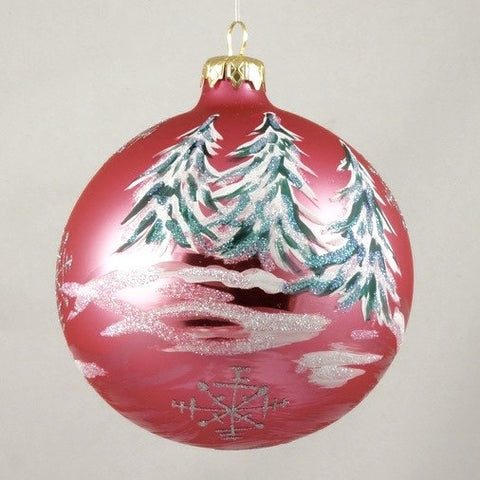 Pink Sunset Christmas Trees with Snow Christmas Ornament - www.giftsbykasia.com - 1