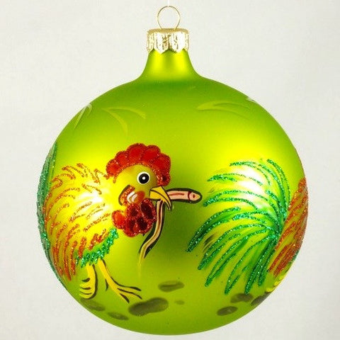 Rooster with Worm on Green Globe Christmas Ornament - www.giftsbykasia.com - 1
