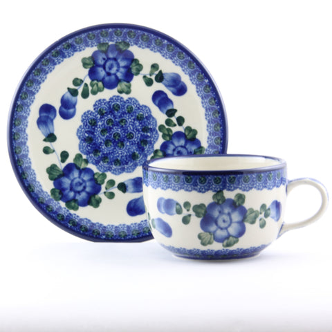 Hand Made Polish Pottery Cup and Saucer - Gifts by Kasia