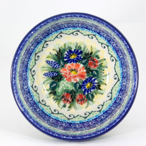 Handmade Ceramic Blue and Red Fowers Bowl - Gifts by Kasia - 1