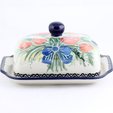 Hand Made Polish Pottery Butter Dish Tulips - Gifts by Kasia