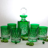 Flame Cut Emerald Crystal Whiskey Decanter - Gifts by Kasia - 5