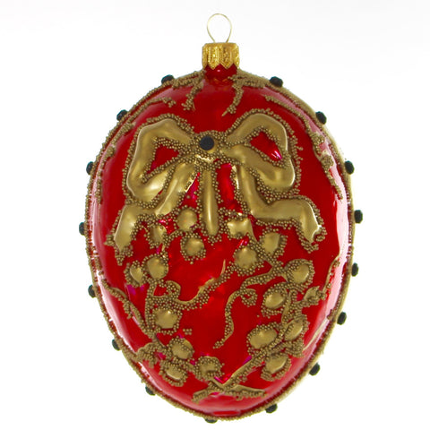 Red Egg with Gold Ribbon Chrstmast or Easter Ornament - Gifts by Kasia - 1