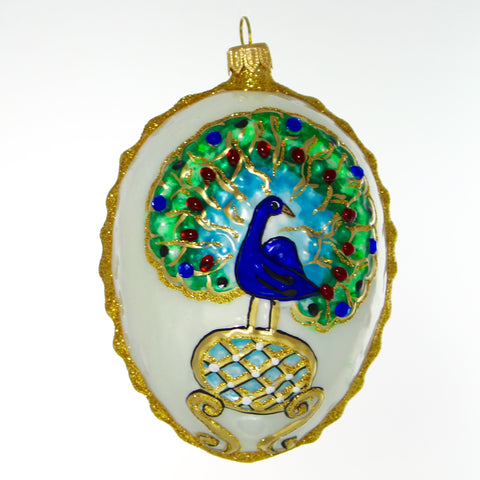 White egg with peacock and gold trim Christmas or Easter Ornament - Gifts by Kasia - 1