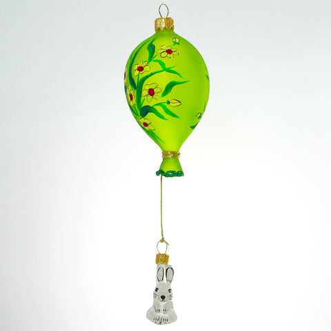 Green Balloon with White Dangle Rabbit Christmas or Easter Ornament - Gifts by Kasia - 1