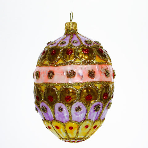 Pink, Violet, Gold Royal Egg Christmas or Easter Ornament - Gifts by Kasia - 1