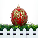 Red Egg with Gold Ribbon Chrstmast or Easter Ornament - Gifts by Kasia - 5