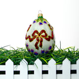 White Egg with Flower Christmas or Easter Ornament - Gifts by Kasia - 6