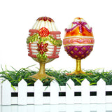 White Egg Standing Ornament with Green Garland - Gifts by Kasia - 5