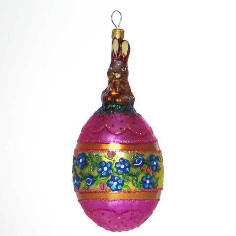 Brown Bunny with Pink and Yellow Egg Christmas Ornament - Gifts by Kasia - 1