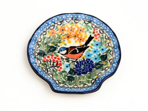 Handmade Ceramic Bird and Berries Shell-Shaped Tray - Gifts by Kasia