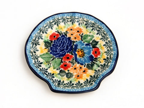 Handmade Ceramic Muliti Colored Flowers Shell-Shaped Tray - Gifts by Kasia