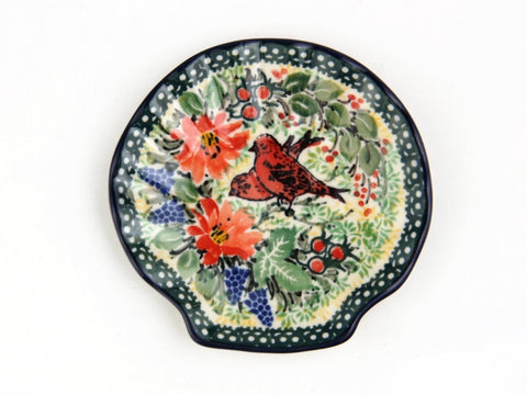 Handmade Ceramic Two Red Birds Shell-Shaped Tray - Gifts by Kasia