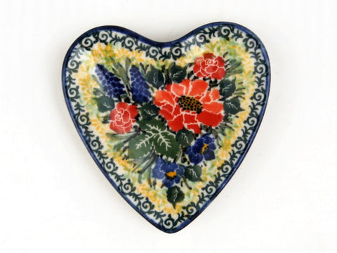 Handmade Ceramic Large Red Flower Heart Tray - Gifts by Kasia