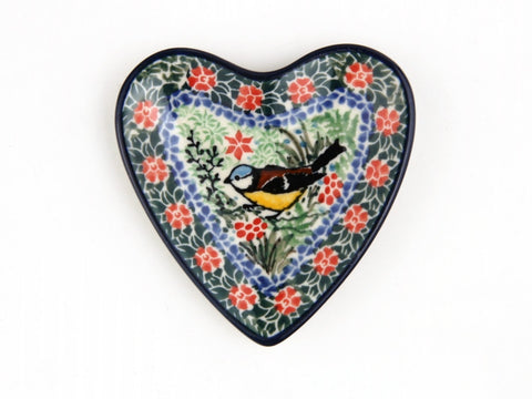 Handmade Ceramic Colorful Bird Heart Tray - Gifts by Kasia