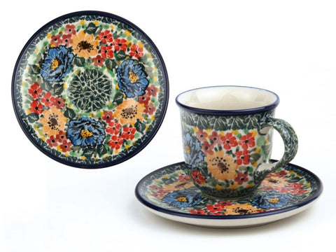 Handmade Ceramic Espresso Cup and Saucer - Gifts by Kasia