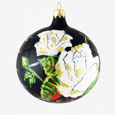 White Roses on Black Globe Christmas Ornament - www.giftsbykasia.com