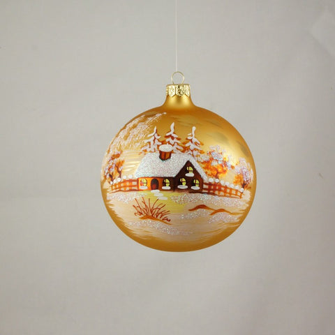 Golden Sunset on Farm Globe Christmas Ornament - www.giftsbykasia.com - 1