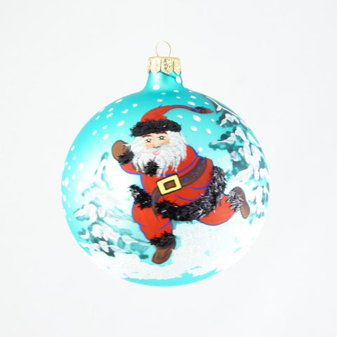 Waving Santa on Blue Christmas Ornament - www.giftsbykasia.com - 1