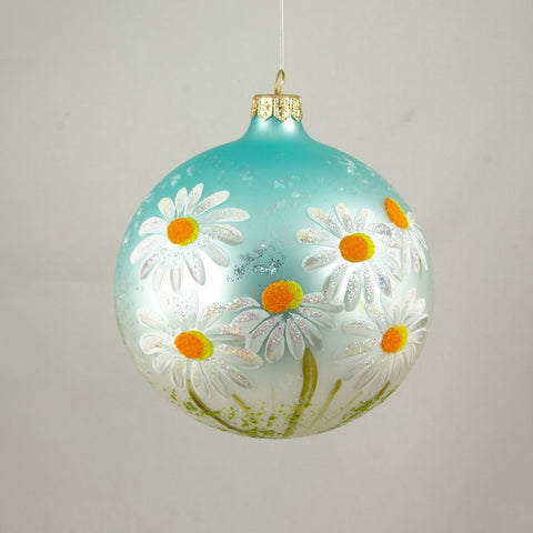 Blue Globe with Daisies  Ornament - www.giftsbykasia.com - 1