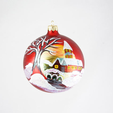 Beautiful Scene with Church on Red Christmas Ornament - www.giftsbykasia.com - 1