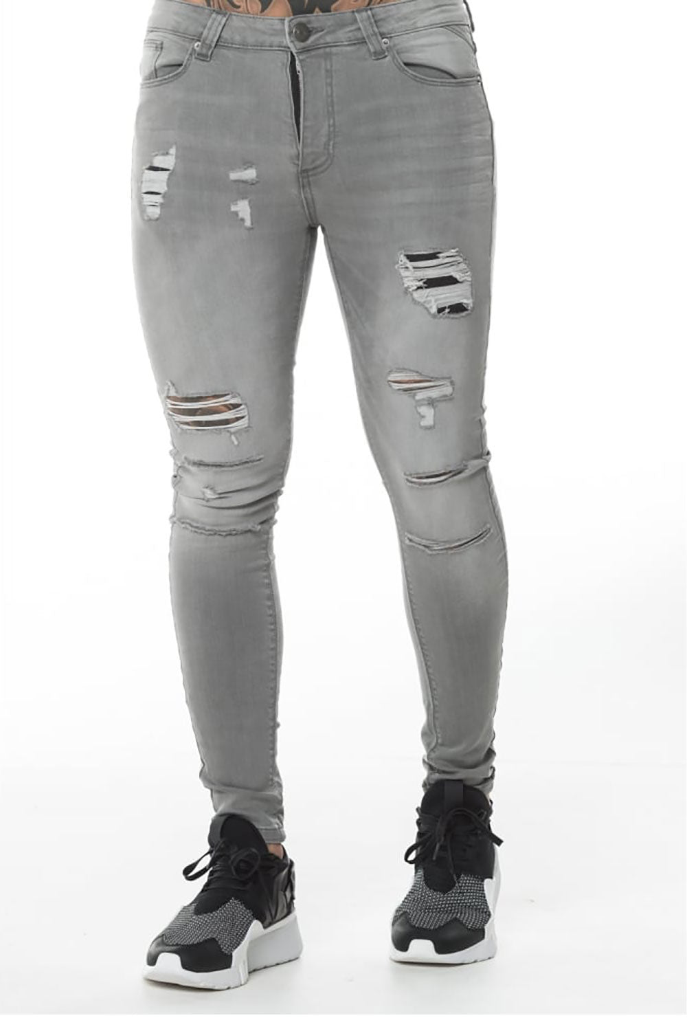 11 Degrees Ripped And Repaired Skinny Jeans - Charcoal Grey