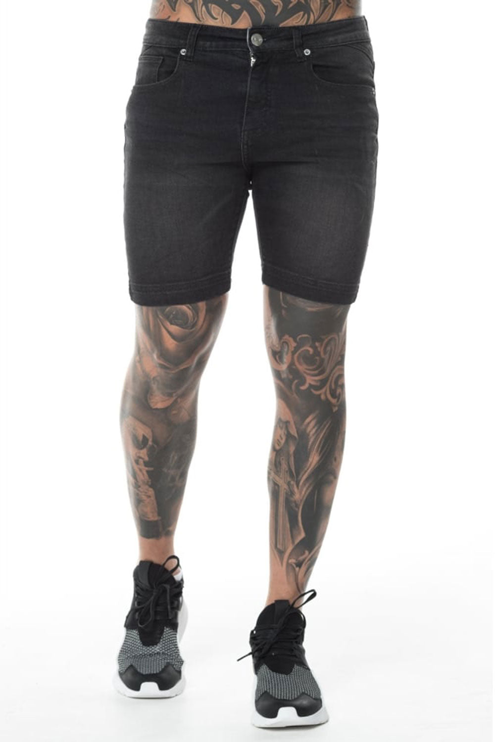 11 Degrees Essential Skinny Shorts - Washed Black