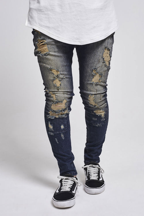 SikSilk Drop Crotch Skimshred Jeans – Dark Blue