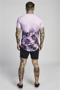 SikSilk  Palm Rework Curved Hem Tee – Deep Lilac