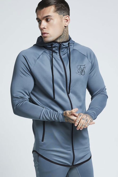 SikSilk Athlete Zip Through Hoodie - Aqua Grey