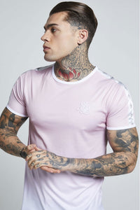 SikSilk Short Sleeve Taped Fade Gym Tee – Pink