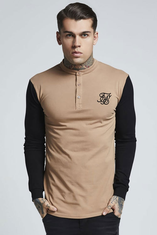 SikSilk  L/S Grandad Collar Gym Tee - Beige & Black