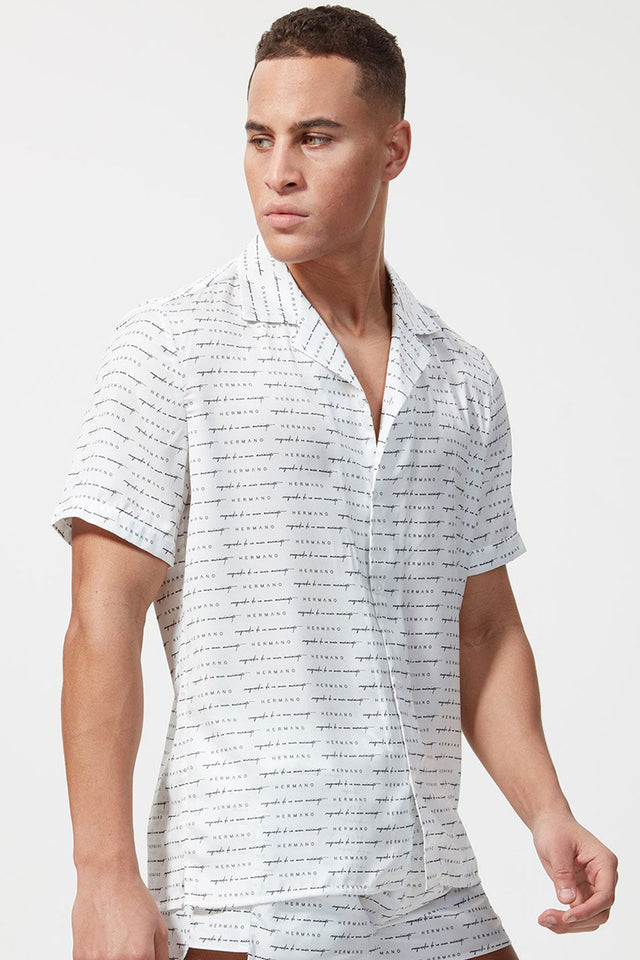Hermano All over Signature S/S Cuban Shirt - White