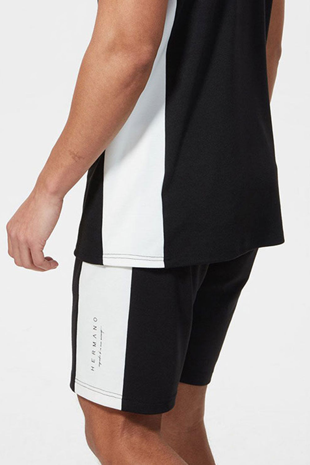Hermano Side Panel Jersey Shorts - Black
