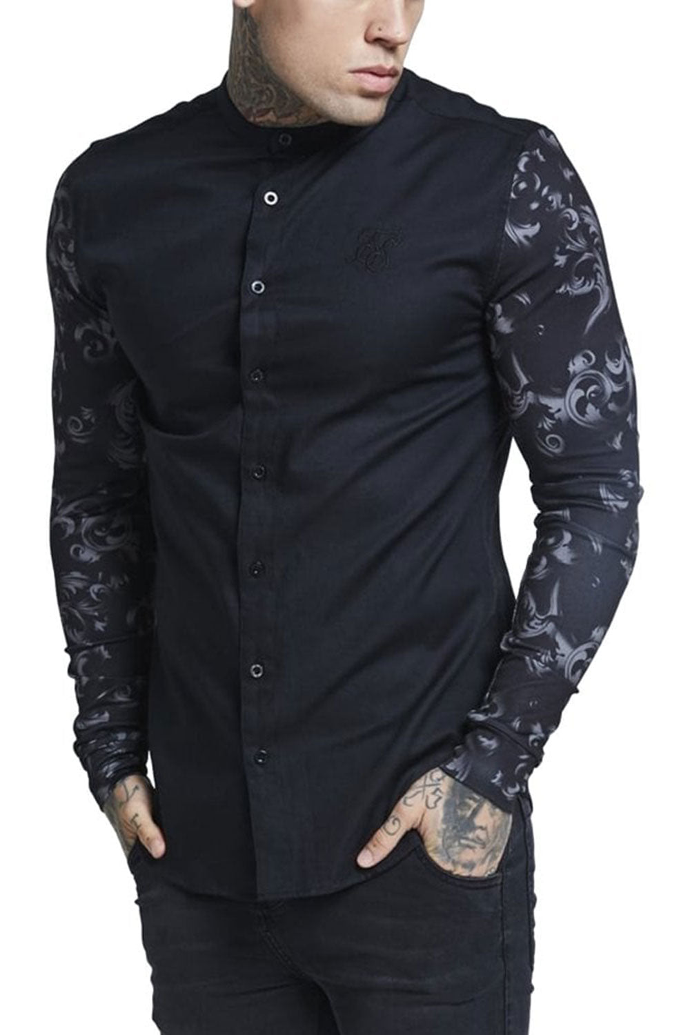 SikSilk Contrast Long Sleeve Grandad Collar - Black