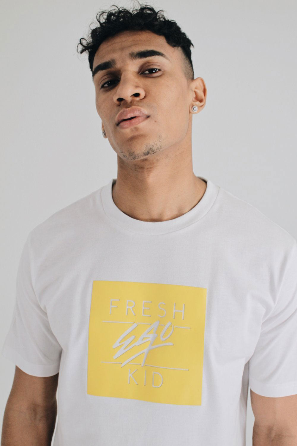 Fresh Ego Kid Box Logo Tee - White / Yellow