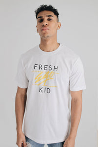 Fresh Ego Kid Heritage Logo Tee - White / Yellow