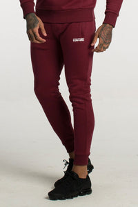 Fresh Couture Core Fitted Fleece Pants - Burgundy